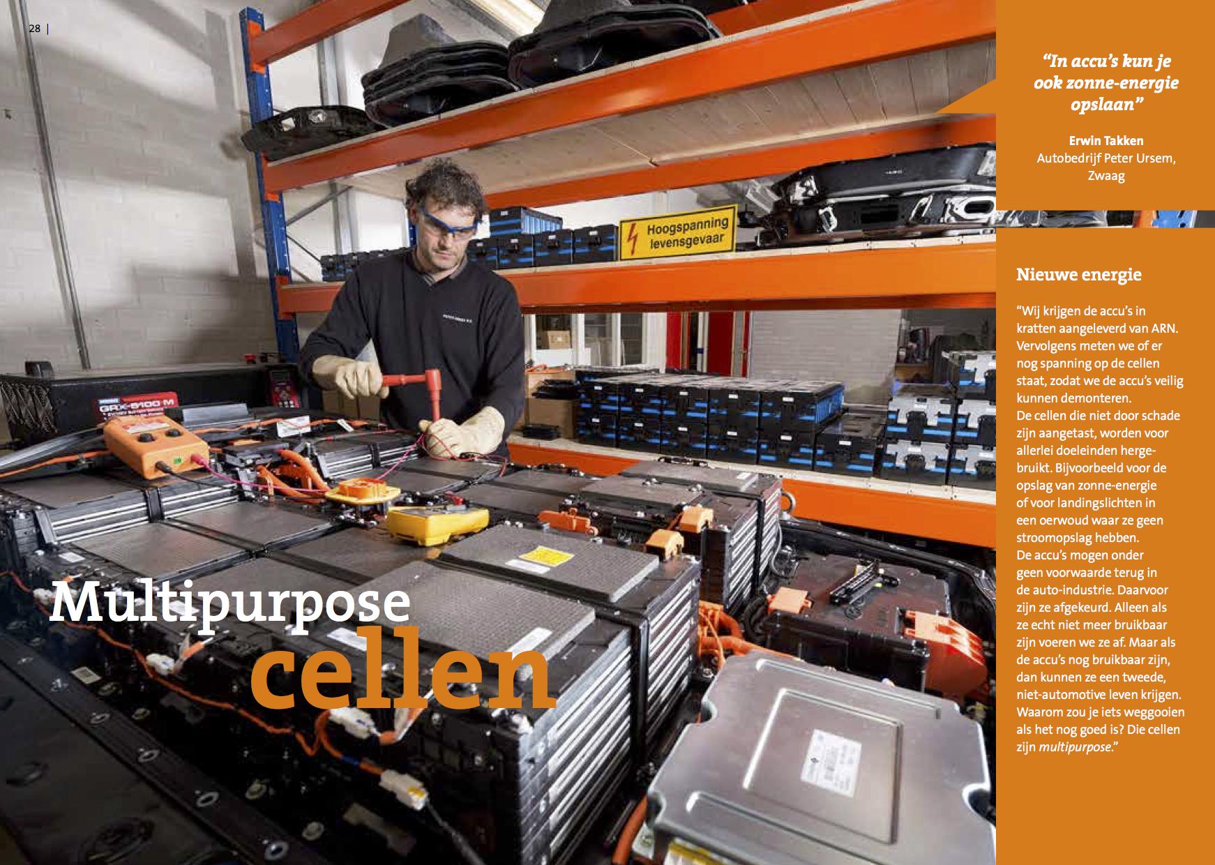 Jaarlijks brengt ARN een brochure uit (ed. 2017) met Nederlandse bedrijven uit verschillende branches werkend aan een beter autorecycling beleid. Met trots is EcarACCU nu onderdeel van dit process en samenwerkend partner met ARN.  Erwin (zie foto) is onze gecertificeerde monteur die zich bezighoud met het demonteren en testen van de batterij modules, cell bij cell. Na dit process zijn de mogelijkheden voor een 2de leven van de batterij eindeloos.